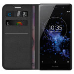 Leather Wallet Case & Card Holder for Sony Xperia XZ2 Premium - Black